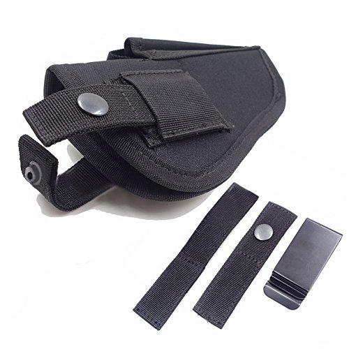Cyber Monday Deal Thiroom Tactical Waistband Nylon Black Holster Waist Belt Handgun Right Hand Left Hand Interchangeable Gun Holster for Medium Compact Subcompact Hand Guns with Magazine Slot