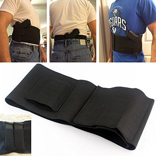 Tactical Elastic Belly Band Waist Pistol Gun Holster 2 Magazine Pouches - Abdominal Band Pistol Holster L