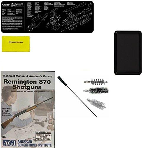 AGI DVD Manual Armorers Course Remington 870 12 GA Shotgun  Ultimate Arms Gear Gunsmith Cleaning Gun Mat  12 Gauge Cleaning Kit Bore Gun Rod Brushes  Gun Cleaning Cloth  Magnetic Tray