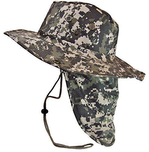 Boonie Bush Safari Outdoor Fishing Hiking Hunting Boating Snap Brim Hat Sun Cap with Neck Flap Digital Camo M Digital CamoM