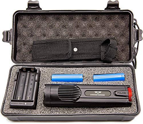 Avenger Defense Ultra-Powerful Series Rechargeable Stun Gun - 19uC Charge Portable Stun Gun - Ultimate Self Defense with Blinding 380 Lumen LED Flashlight - Military Grade Aluminum - Includes Case