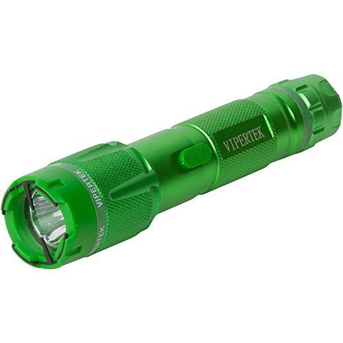 VIPERTEK VTS-T03 - Aluminum Series 999000000 Heavy Duty Stun Gun - Rechargeable with LED Tactical Flashlight Green