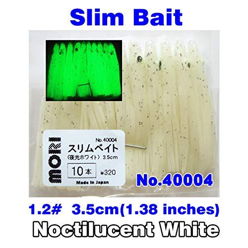 MORI Slim Bait Fishing Lure Bait Japan 12 35cm Octopus Noctilucent Luminous White Squid Skirt Trolling Soft Lure Rig Soft Plastic Bait Hoochie Squid 138inches 10pcsBag No40004