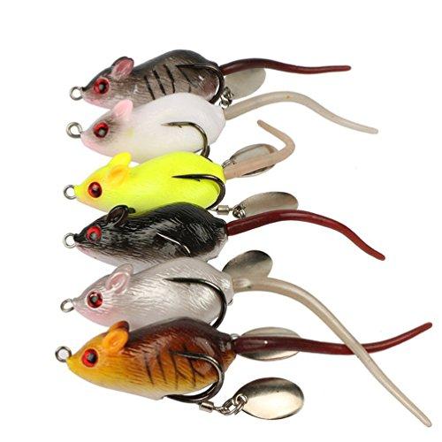 6pcs 6cm105g Freshwater Mouse Bait Floating Fishing Lures Bionic Bait Artificial baits
