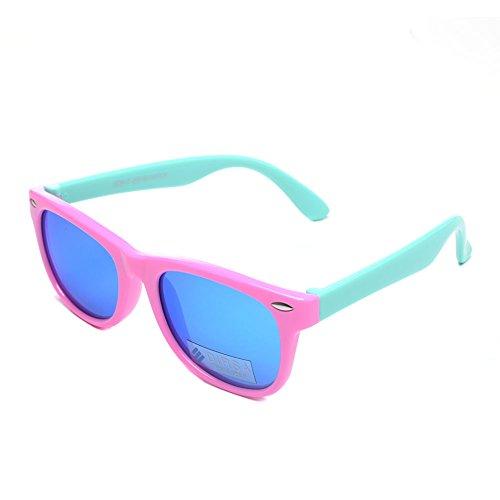 DIRSA Rubber Flexible Kids Polarized Sunglasses Glasses for Boys Girls Child Age 3-10 Pink&Mint Green  Blue Mirrored Lens black