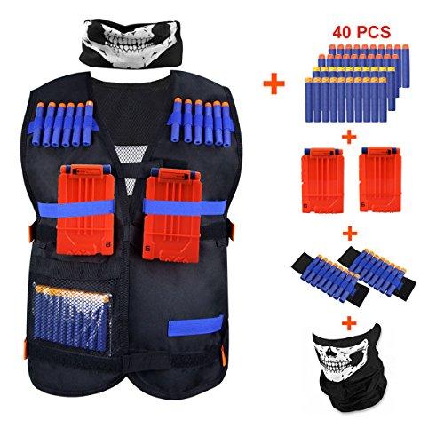 Kids Tactical Vest Kit KINBON Adjustable Boys Nerf Vest for Nerf N-strike Elite Series Kids with 40 Pcs Foam Darts  2Pcs 6-dart Quick Reload Clip  1Pcs Skull Mask  2Pcs 8-dart Wrist Band