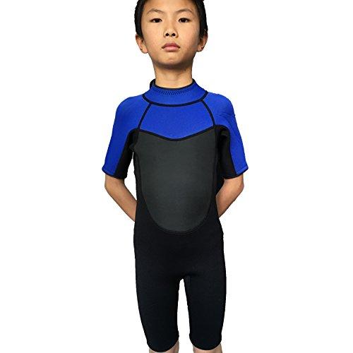 Realon Wetsuit Kids Shortie 3mm Boys Wetsuit Shorty Swim Suit Children Snorkeling Suits Surf Suit Jumpsuit blackblue M