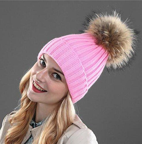 Roniky Winter Knit Hat Real Raccoon Fur Pom Pom Womens Girls Knit Beanie Hat Pink