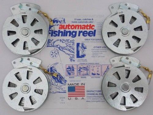 4 Mechanical Fishers Yo Yo Fishing Reels -Package of 4 Reels- Yoyo Fish Trap -FLAT TRIGGER MODEL