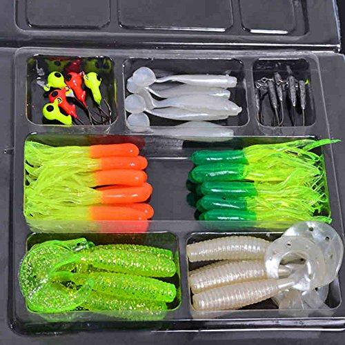 35 Pieces Soft Worm Lure Carp Fishing Lure Set  10 Lead Head Jig Hooks Simulation Suite Soft Fishing Baits Set Tackle - RANDOM COLOR