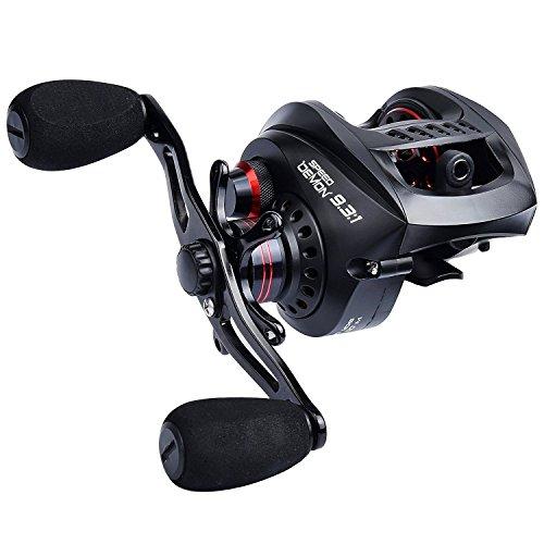 KastKing Speed Demon 931 Baitcasting Fishing Reel – World's Fastest Baitcaster – 121 Shielded Ball Bearings – Carbon Fiber Drag – Affordable - New for 2017 Right Handed