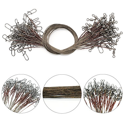 Uncoated Stainless Steel Fishing Wire Leaders Trace Lure Rig Fishing Steel Wire Line with Swivel Snap 15cm 1x7 Pack of 50