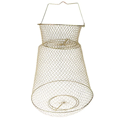 MagiDeal Collapsible Steel Wire Fish Basket Shrimp Crab Cage 25cm30cm38cm Available - 38cm