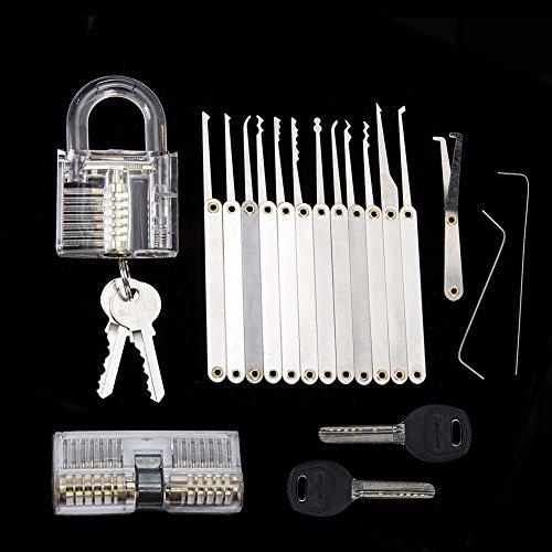 AONAN Beginner Practice tools Set with 15 Piece Unlocking locks and 2 Keys Padlock