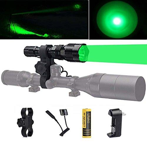 Ulako 250 Yards Range Green Light Tactical Flashlight with Scope Sight Mount for Coyote Hog Pig Varmint Predator Hunting