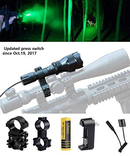 Ulako Green Light Tactical Flashlight 250 Yards Range with Scope Sight Mount for Coyote Hog Pig Varmint Predator Hunting