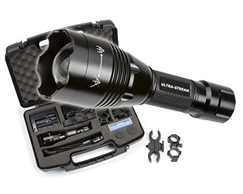 Ultra Stream Led 6 Inch Focusable Flashlight Predator Hunting Kit Gun Mount 300 Yards Red-Green