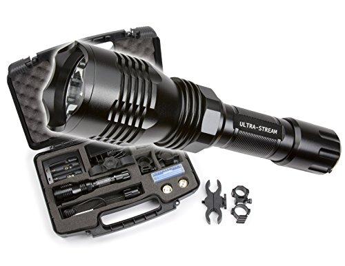 Ultra Stream Led Cree Flashlight Predator Hunting Kit Gun Mount 300 Yards White Red Green