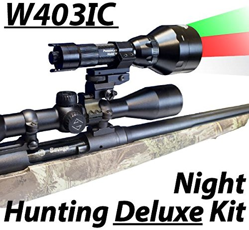 Wicked Lights W403IC Deluxe Night Hunting Kit With Green Red and White Intensity Control LEDs for Predator varmint Hog complete 3 led light kit