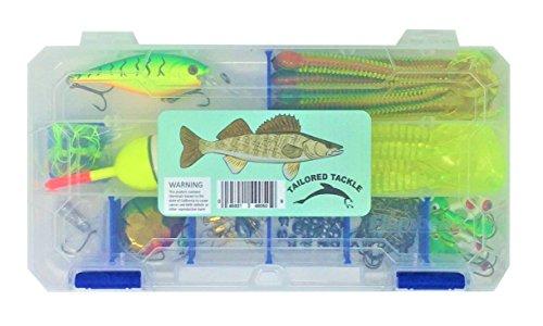 Walleye Fishing Lures Tackle Box 125pc 1 Crankbait 30 Walleye Soft Bait 9 Walleye Jigs 2 Walleye Rigs 1 Slip Bobber 6 Slip Tie 42 Live Bait Fishing Hooks 26 Fishing Sinkers 8 Snap Swivels 1 Tackle Box