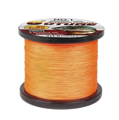 Multifilament 4 Stands Orange 12mm 1000M PE Japanese Braided Fishing Line