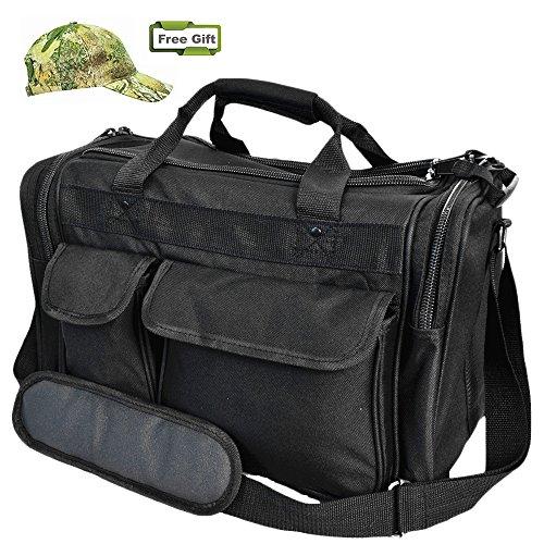 Explorer Shooting Range Bag Tactical Carrying Duffel Gun Pistol Bag with Padded Pockets Adjustable Shoulder Strap Free Sports Hunting Cap