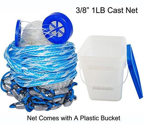 Handmade American Saltwater Fishing Cast Net for Bait Trap Fish 38inch Mesh Size 10ft Radius