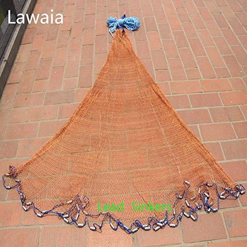 Lawaia Net Heavy Duty Fishing Net For Men Lead Sinker Red Line Outdoor Travel Fishing Net Fish Hand Throw Netwoek Dia 24-72m