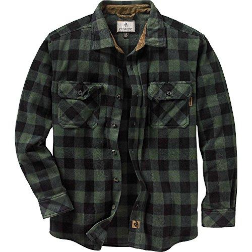 Legendary Whitetails Mens Navigator Fleece Button Down Shirt Night Forest Plaid Green X-Large Tall