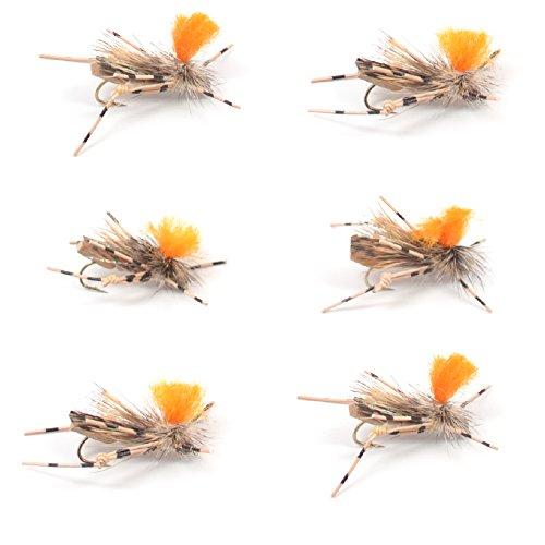 Feth Hopper Tan Foam Body High Visibility Grasshopper Dry Fly Fishing Fly - 6 Flies - Hook Size 10