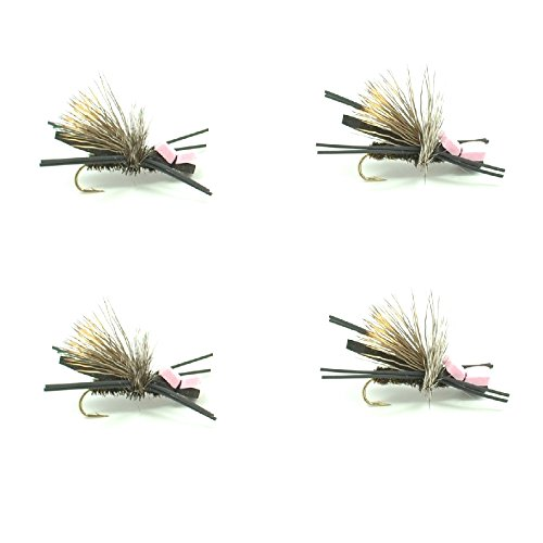 Gypsy King Foam Body High Visibility Grasshopper Dry Fly Fishing Fly - 4 Flies - Hook Size 10 - Hopper Dropper Indicator Fly