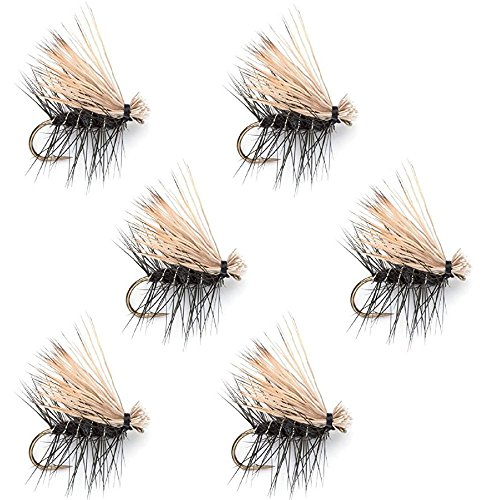 The Fly Fishing Place Black Elk Hair Caddis Classic Trout Dry Fly - Set of 6 Flies Size 16
