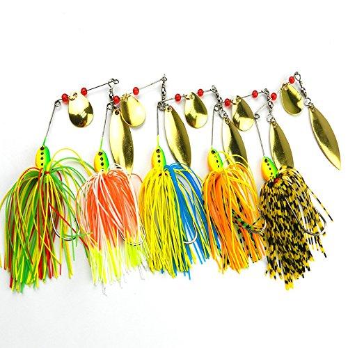Fishing Hard Spinner Lure Spinnerbait Pike Bass Baits Fishing Lures 5pcs Set