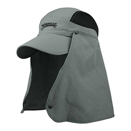 American Outdoorsman Fishing Sun Hat Taslon UV Cap w Removable Neck Flap Gull