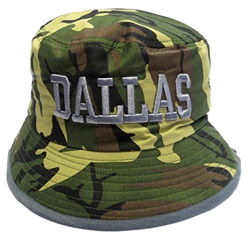 Dallas Cowboys Camo Bucket Golf Fishing Sun Hat Cap Embroidered Text Logo