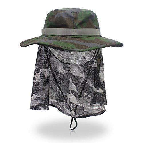 Unisex Sun Hat Outdoor Sun Protection UPF 50 Wide Brim Cap Removable Mesh Neck Face Flap Fishing Hunting Farmer Gardener Hat