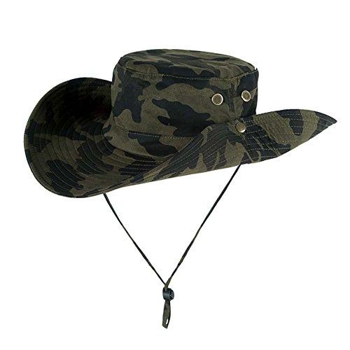 Bornbayb Camouflage Fishing Sun Boonie Hat Outdoor Sun Protection Wide Brim Bucket Hat with Adjustable Drawstring