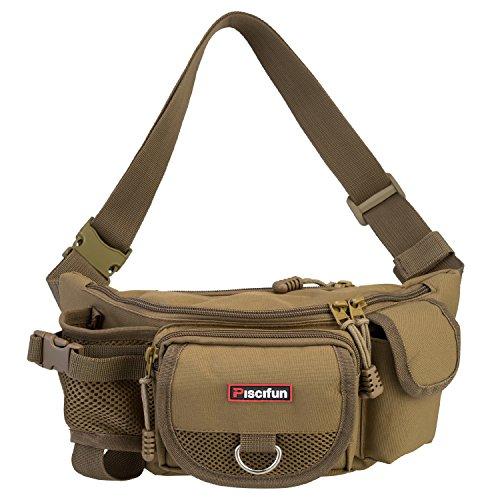 Piscifun Fishing Bag Portable Outdoor Fishing Tackle Bags Multiple Waist Bag Multi Functional Fanny Pack Color Khaki