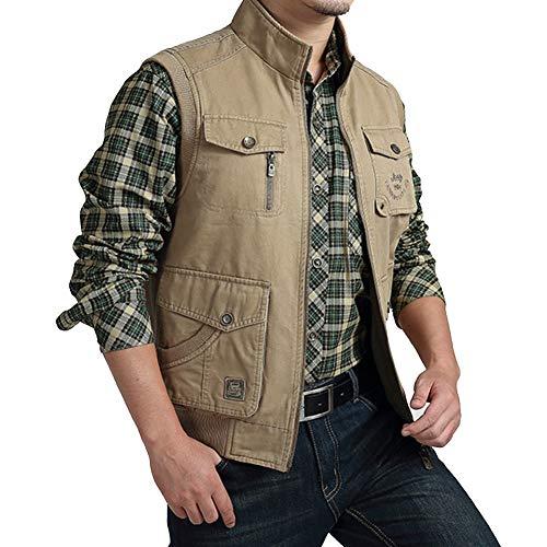 BEPAI Mens Mesh Fishing Vest Multi Pockets Jacket for Outdoor Fishing Hunting Climbing Tactical