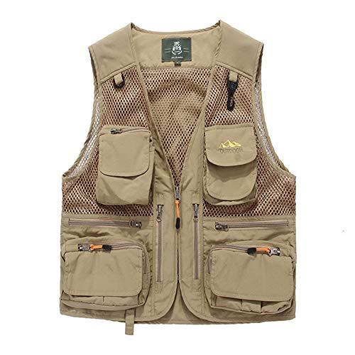 DiaoYu Mens Mesh Fishing Vest Photography Work Multi-Pockets Outdoors Journalists Vest Jacket