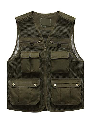 Lavnis Mens Mesh Fishing Vest Lightweight Safari Travel Hunting Waistcoat with Multi-Pockets
