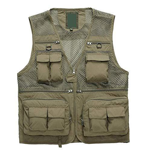NUOCHEN Mens Mesh Fishing VestOutdoors Journalists Vest Jacket Photography Work Multi-Pockets