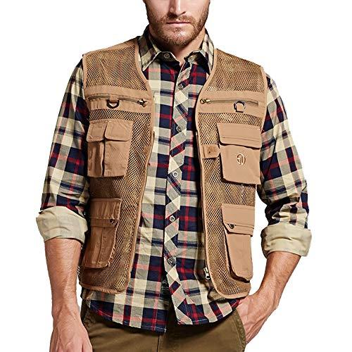 VENCANN Mens Summer Mesh Fishing Vest Photography Work Multi-Pockets Outdoors Vest Sleeveless Jacket