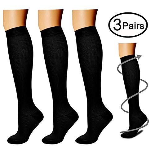 CHARMKING Compression Socks for Women Men 3 Pairs 15-20 mmHg is Best Athletic Running Flight Travel NursesEdema