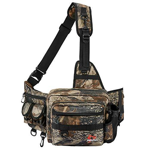Piscifun Sling Fishing Tackle Bag,Outdoor Fishing Storage Pack,Water-Resistant Fishing Bag Cross Body Sling BagBlack Khaki Camouflage