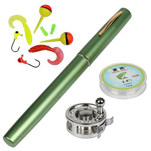 YOGAYET Mini Pocket Ice Fly Fishing Rod and Reel Combos Set Aluminum Alloy Pen Fishing Pole 38 Sea Saltwater Freshwater Kit Green