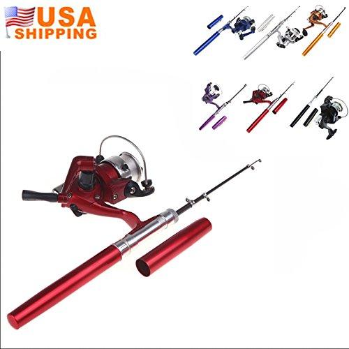 EverTrustTM Mini Pocket Pen Shape Aluminum Alloy Fishing Rod Portable Baitcasting Rods Pole  Fishing Reel Set Combos Pesca