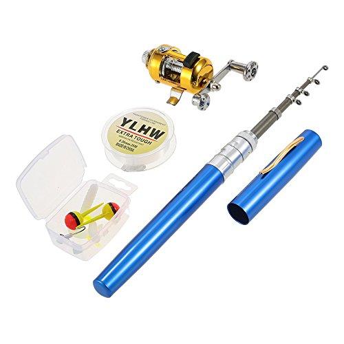 Lixada Fishing Rod Reel Combo Set Mini Telescopic Portable Pocket Pen Fishing Rod Pole  Reel Aluminum Alloy Fishing Line Soft Lures Baits Jig Hooks