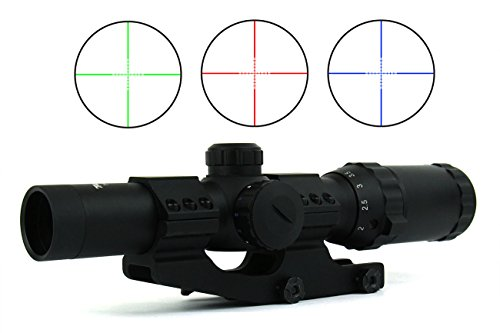 TacFire 1-4 x 24mm Tactical Rifle Scope GreenRedBlue IlluminatedP4 Sniper Reticle with Cantilever Scope Mount