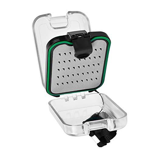 SF Plastic Waterproof Pocket Fly Fishing Box Double Sided Clear Lid Easy Grip Foam